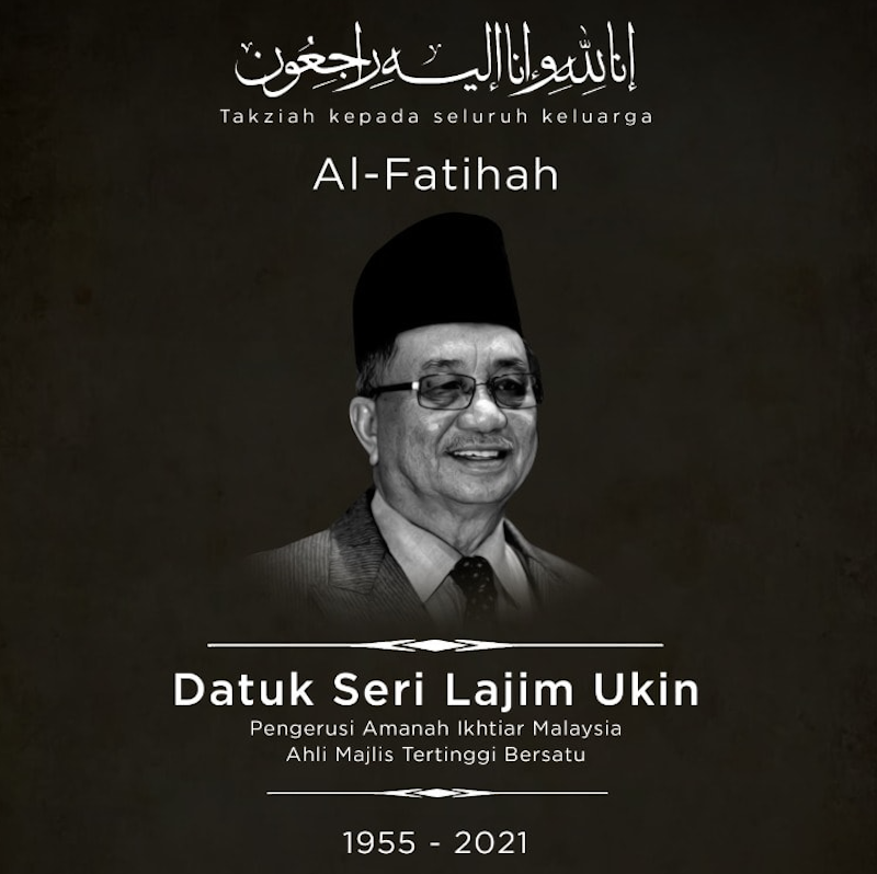 Datuk Seri Lajim Ukin died this morning from Covid-19-related complications. — Picture courtesy of Facebook