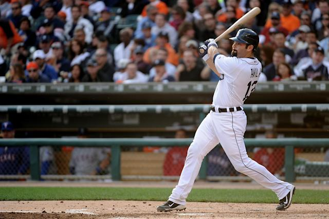 DETROIT, MI - OCTOBER 13: Alex Avila #13 of the Detroit Tigers hits a solo home run in the third inning of Game Five of the American League Championship Series against the Texas Rangers at Comerica Park on October 13, 2011 in Detroit, Michigan. (Photo by Harry How/Getty Images)