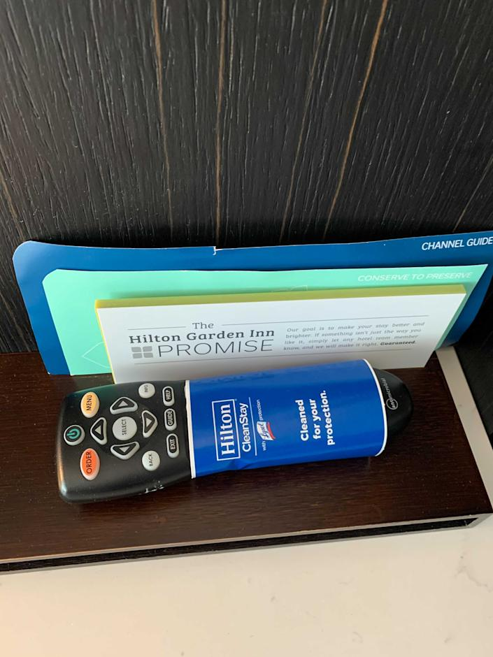 This remote was clean, according to Hilton's CleanStay label.