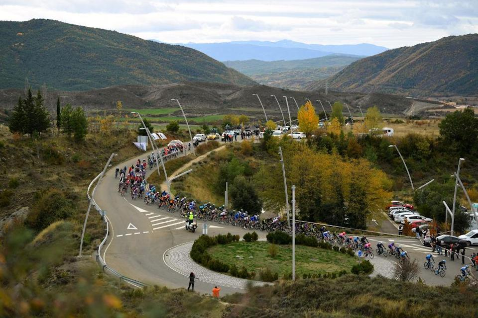 SALLENT DE GLLEGO SPAIN  OCTOBER 25 Peloton  Public  Fans  Landscape  during the 75th Tour of Spain 2020  Stage 6 a 1464km stage from Biescas to Sallent de Gllego  Aramn Formigal 1790m  lavuelta  LaVuelta20  La Vuelta  on October 25 2020 in Sallent de Gllego Spain Photo by David RamosGetty Images