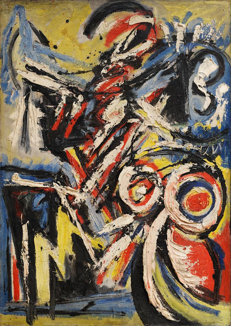 Michael (Corinne) West (1908-1991), Blue Figure, 1948. Oil and sand on canvas. 37 x 26 inches. Private collection.