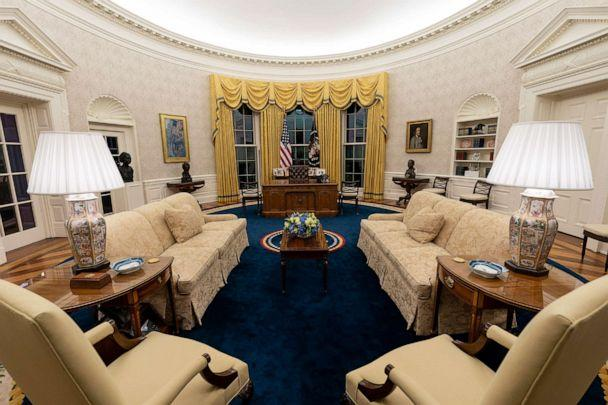 PHOTO: The Oval Office of the White House is newly redecorated for the first day of President Joe Biden's administration, Jan. 20, 2021, in Washington.  (Alex Brandon/AP)