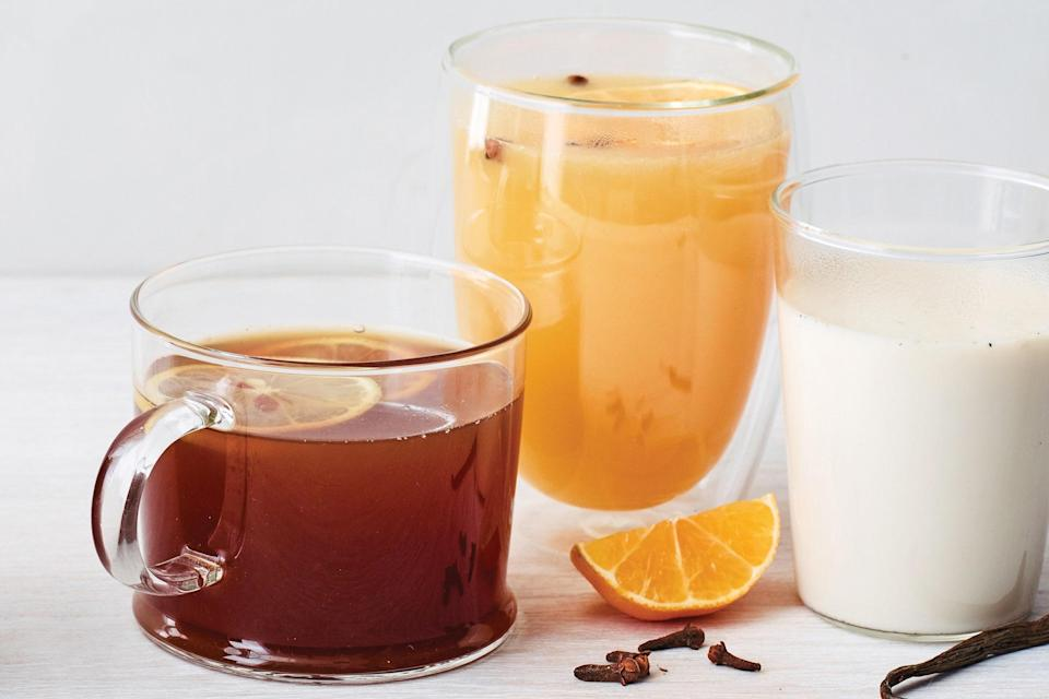 """This festive, spiced toddy starts with a black tea base. English breakfast tea is especially good with the black pepper and star anise, but Earl Grey would be nice, too. <a href=""""https://www.epicurious.com/recipes/food/views/slow-cooker-star-anise-black-pepper-hot-toddy?mbid=synd_yahoo_rss"""" rel=""""nofollow noopener"""" target=""""_blank"""" data-ylk=""""slk:See recipe."""" class=""""link rapid-noclick-resp"""">See recipe.</a>"""
