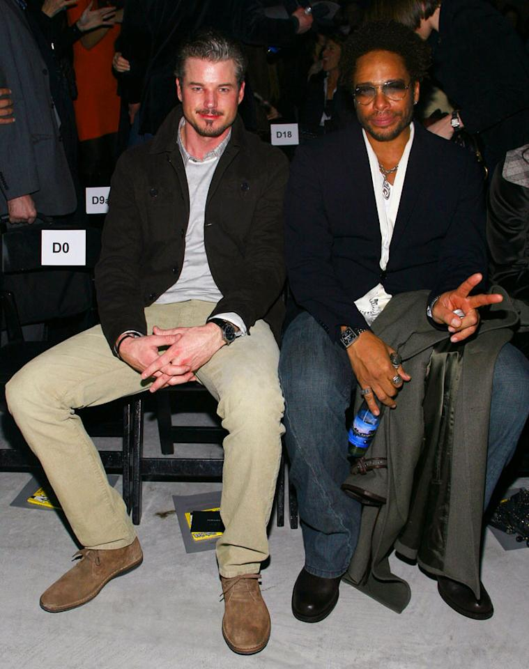 """""""Grey's Anatomy"""" hunk Dr. McSteamy (aka Eric Dane) and his buddy Gary Dourdan (""""CSI"""") take a first-class ride in the front row at the John Varvatos unveiling. John Parra/<a href=""""http://www.wireimage.com"""" target=""""new"""">WireImage.com</a> - February 4, 2008"""