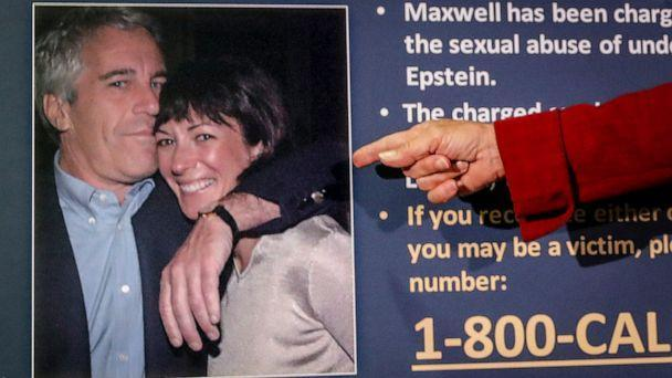 PHOTO: In this July 2, 2020, file photo, Audrey Strauss, acting U.S. attorney for the Southern District of New York, points to a photo of Jeffrey Epstein and Ghislaine Maxwell during a news conference in New York. (John Minchillo/AP, FILE)