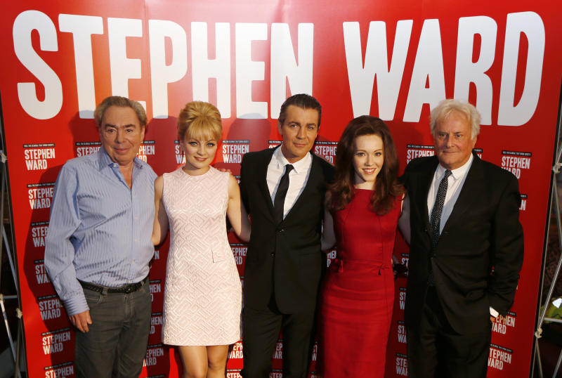"""FILE - This is a Monday, Sept. 30, 2013 file photo of from left, composer Andrew Lloyd Webber, actress Charlotte Blackledge, who plays model and showgirl Mandy Rice Davies, actor Alexander Hanson, as osteopath Stephen Ward, Charlotte Spencer starring as showgirl Christine Keeler, and director Richard Eyre, during the launch photocall of Lloyd Webber's new musical 'Stephen Ward', in London. It's curtains for Andrew Lloyd Webber's latest musical in London's West End. Producers say """"Stephen Ward,"""" a tale of sex and scandal based on a real Cold War episode, will close March 29 2014 after run of less than four months. The play opened in December to mixed reviews. It stars Alexander Hanson, a well-connected osteopath caught up in a scandal involving a young model, a British Cabinet minister and a Soviet attache. It was the composer's first new show since """"Phantom of the Opera"""" sequel """"Love Never Dies"""" in 2010, and featured book and lyrics by Christopher Hampton and Don Black. (AP Photo/Sang Tan, File)"""