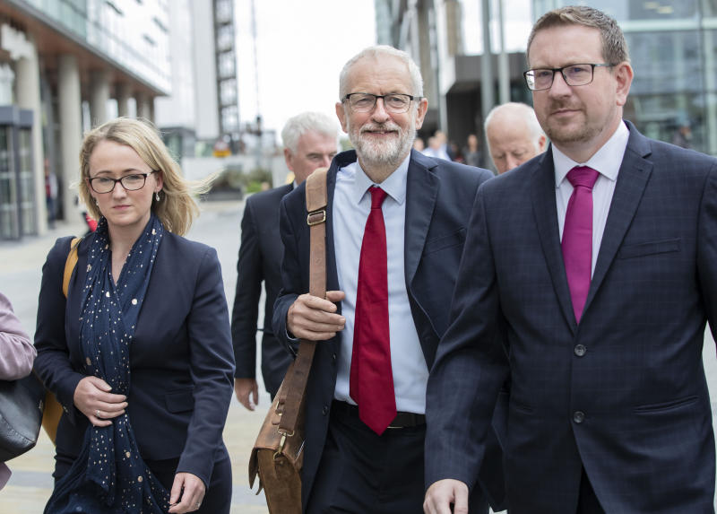 Labour leader Jeremy Corbyn (centre) walks with shadow business secretary Rebecca Long-Bailey and shadow communities secretary Andrew Gwynne, followed by shadow chancellor John McDonnell, during a walkabout at MediaCityUK in Salford prior to holding a shadow cabinet meeting.