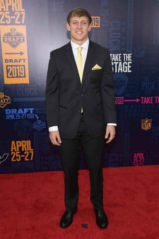 Football player T. J. Hockenson attends the 2019 NFL Draft on April 25, 2019 in Nashville, Tennessee. (Photo by Jason Kempin/Getty Images)