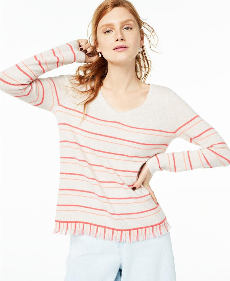 Striped Fringe-Hem Cashmere Sweater. (Photo: Macy's)