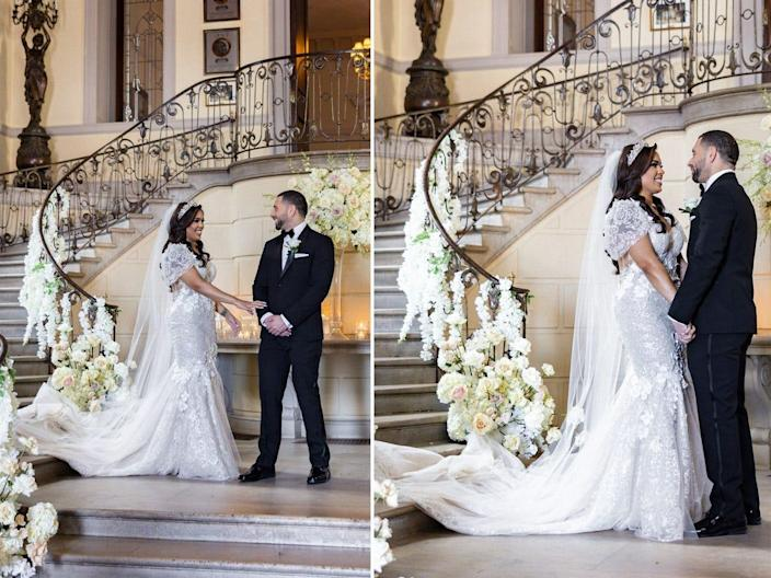 Vishnell and Benny share a first look ahead of their wedding