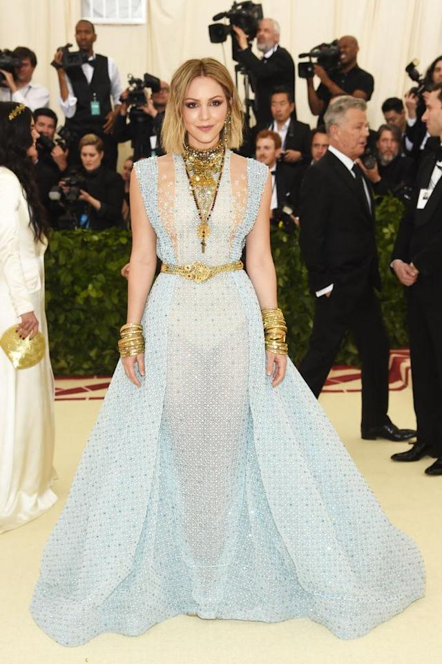 <p>Katharine McPhee attends the Heavenly Bodies: Fashion & The Catholic Imagination Costume Institute Gala at The Metropolitan Museum of Art on May 7, 2018 in New York City. (Photo: Getty Images) </p>