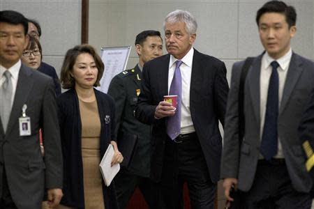 U.S. Secretary of Defense Chuck Hagel arrives at the 45th Security Consultative Meeting at Defence Ministry in Seoul