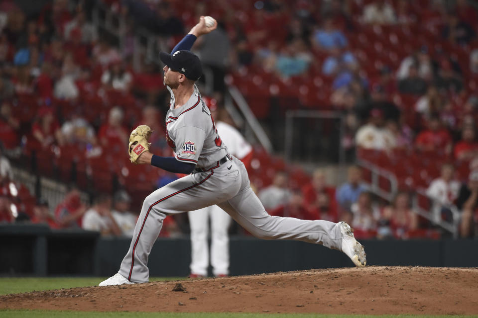 Atlanta Braves relief pitcher Josh Tomlin throws during the ninth inning of the team's baseball game against the St. Louis Cardinals on Tuesday, Aug. 3, 2021, in St. Louis. (AP Photo/Joe Puetz)