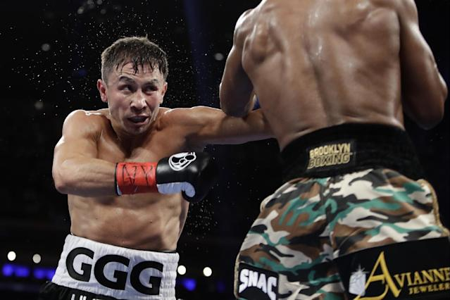 Gennady Golovkin fights Daniel Jacobs during the third round of their middleweight boxing match March 19, 2017, in New York. (AP Photo/Frank Franklin II)