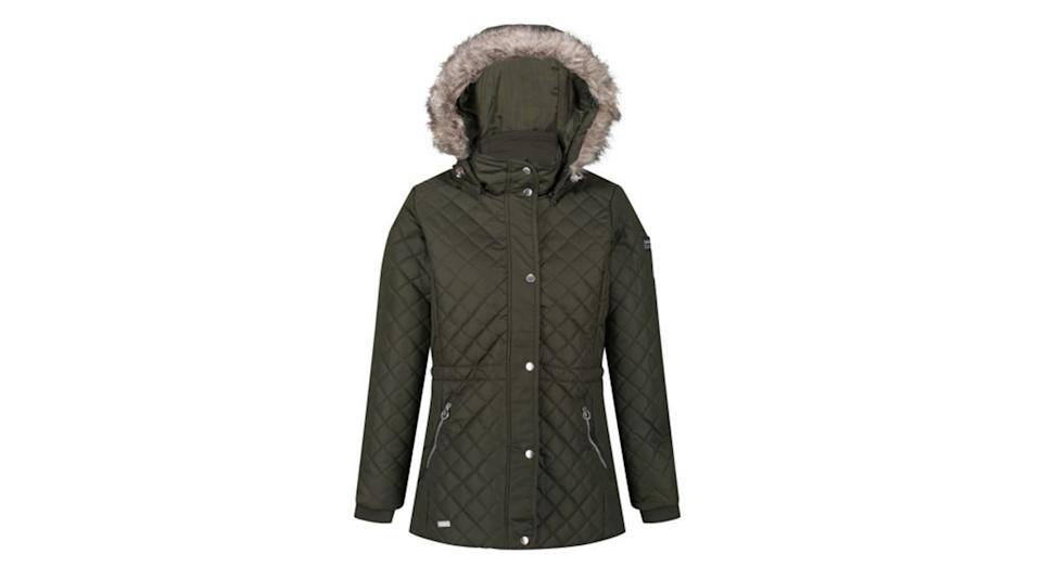Women's Zella Insulated Quilted Fur Trimmed Hooded Jacket