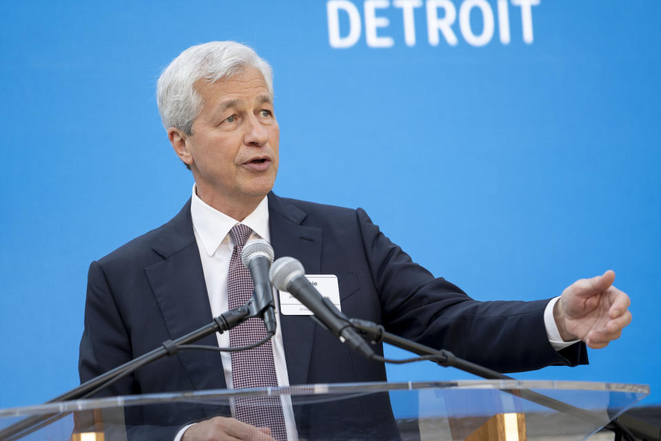 IMAGE DISTRIBUTED FOR JPMORGAN CHASE & CO. - Detroit, MI: JPMorgan Chase Chairman and CEO Jamie Dimon speaks during a commemoration event of the $200 million investment by JPMorgan Chase in the city of Detroit at the Charles H. Wright African American Museum on Wednesday, June 26, 2019 in Detroit. (Tim Galloway/AP Images for JPMorgan Chase & Co.)