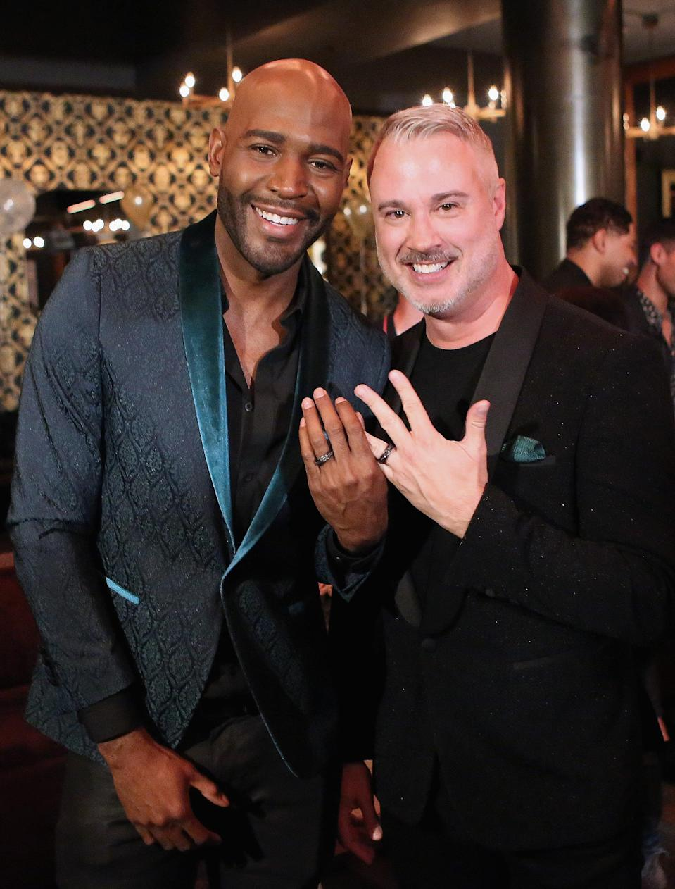 "<p><a href=""https://www.usmagazine.com/celebrity-news/news/queer-eyes-karamo-brown-engaged-to-ian-jordan/"" class=""link rapid-noclick-resp"" rel=""nofollow noopener"" target=""_blank"" data-ylk=""slk:The Queer Eye star popped the question"">The <strong>Queer Eye</strong> star popped the question</a> to his partner of eight years in May 2018.</p>"