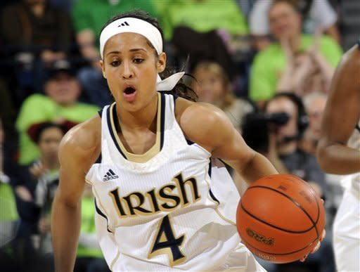 Notre Dame guard Skylar Diggins heads upcourt during the first half of an NCAA college basketball game against Syracuse, Tuesday, Feb. 26, 2013, in South Bend, Ind. (AP Photo/Joe Raymond)