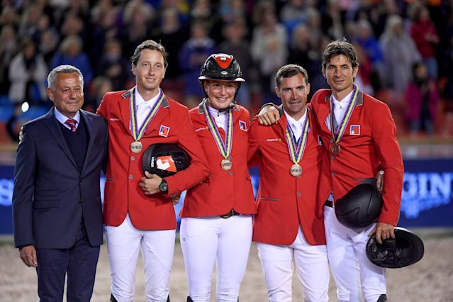Equestrian - FEI European Championships 2017 - Ullevi Stadium - Gothenburg, Sweden - August 25, 2017 - The Swiss team poses with their bronze medals after the Competition Jumping Event. TT News Agency/Pontus Lundahl via REUTERS ATTENTION EDITORS - THIS IMAGE WAS PROVIDED BY A THIRD PARTY. SWEDEN OUT. NO COMMERCIAL OR EDITORIAL SALES IN SWEDEN