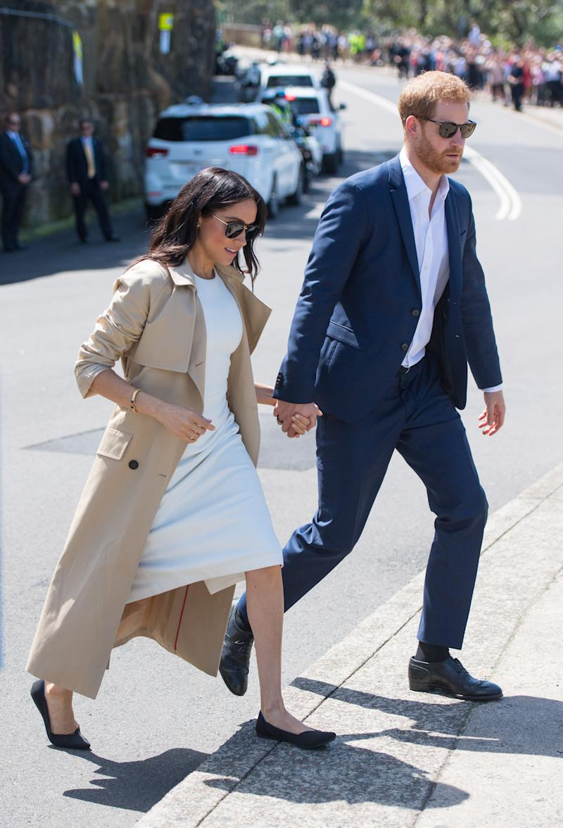 The Duchess of Sussex wearing Rothy's The Point, a sustainable and machine washable flat. (Photo by: Dominic Lipinski/PA Wire)