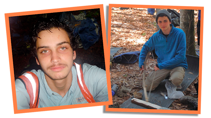 Side by side collage photographs showing Daniel in a wilderness programme aged 15