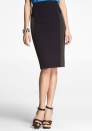 """<div class=""""caption-credit""""> Photo by: Express</div><b>Express high-waist Studio Stretch Pieced Pencil Skirt, $29.99, express.com</b> <br> This affordable navy skirt features black leather pieces and charcoal panels. Proof that three dark neutrals are better than one!"""