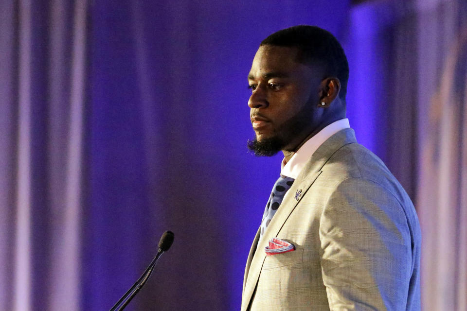 Kentucky's Josh Paschal speaks to reporters during a Southeastern Conference Media Days NCAA college football news conference, Tuesday, July 20, 2021, in Hoover, Ala. (AP Photo/Butch Dill)