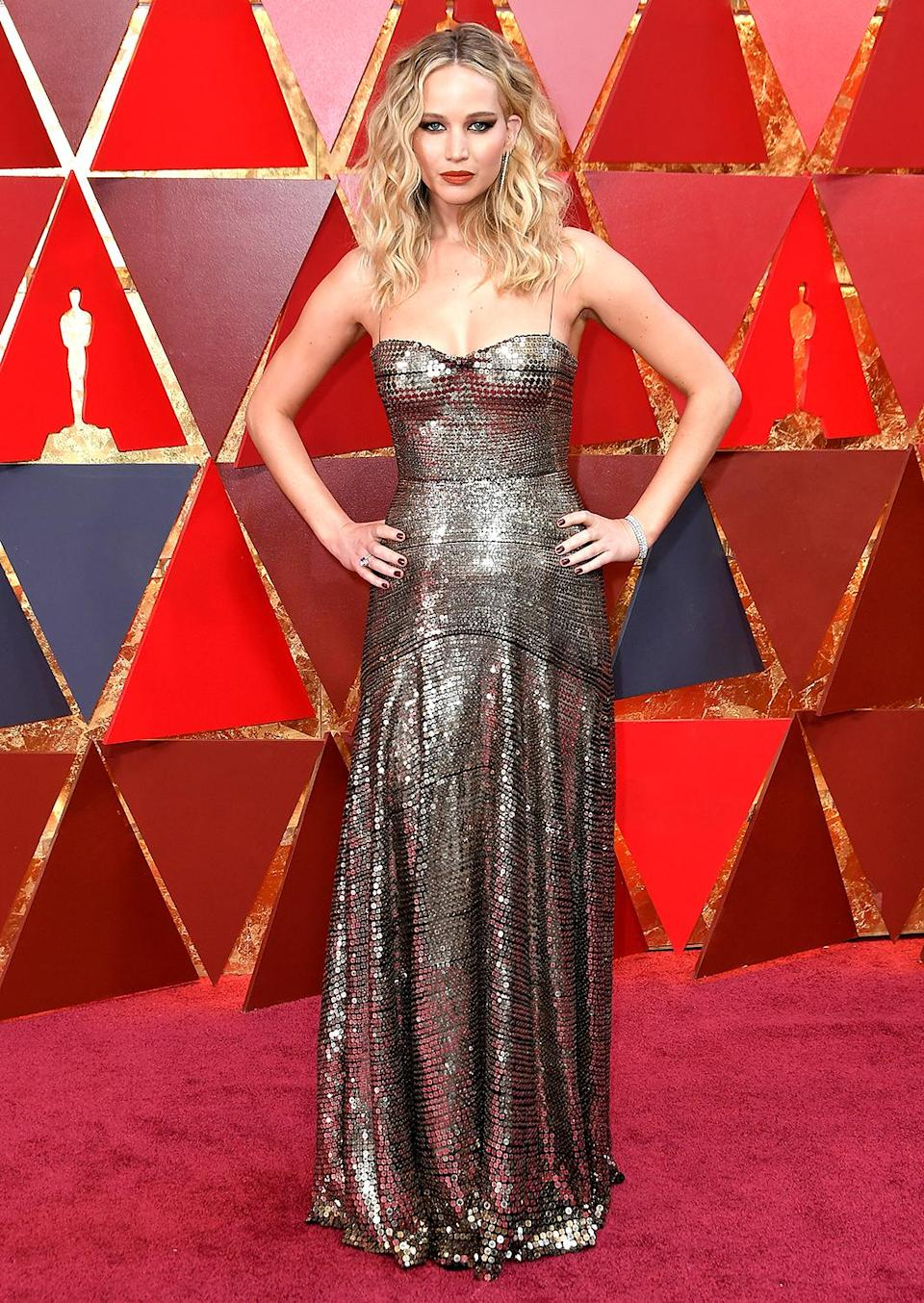 Jennifer Lawrence on the red carpet at the 90th Annual Academy Awards (Photo by Neilson Barnard/Getty Images)