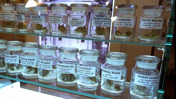 PHOTO: Marijuana on display at Arbors Wellness in the medical marijuana shop in Ann Arbor, Mich., Nov. 25, 2019. Adults age 21 and over will be able to buy marijuana for recreational use starting Sunday, Dec. 1 in Michigan. (David Eggert/AP)