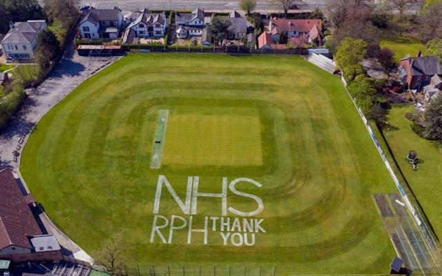 Fulwood and Broughton CC painted a message of support to the NHS on their outfield - Fulwood and Broughton CC