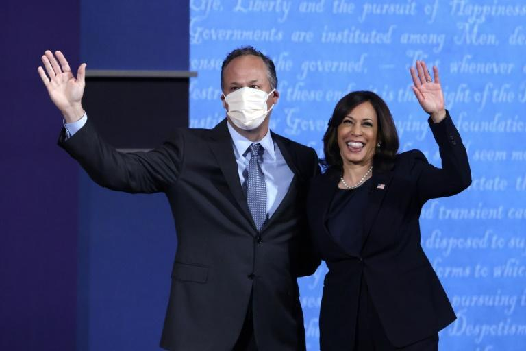 "Media and entertainment lawyer Douglas Emhoff is seen here with his wife Kamala Harris after she took part in the vice presidential debate in Salt Lake City, Utah on October 27, 2020; he will make history as America's first ""second husband"""