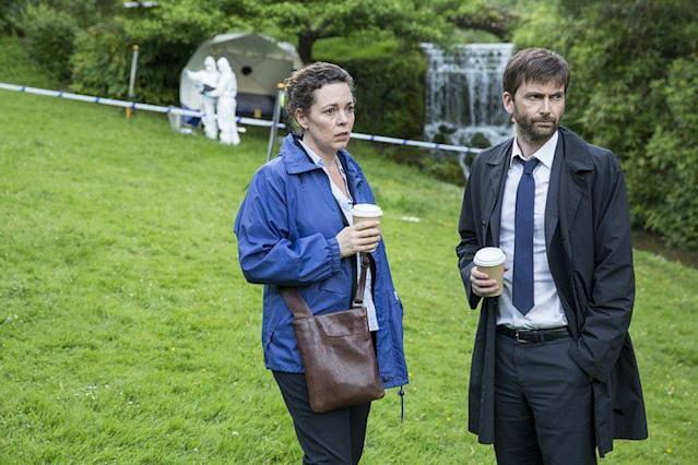 Olivia Colman as DS Ellie Miller and David Tennant as DI Alec Hardy in BBC America's <i>Broadchurch.</i> (Photo: Colin Hutton)