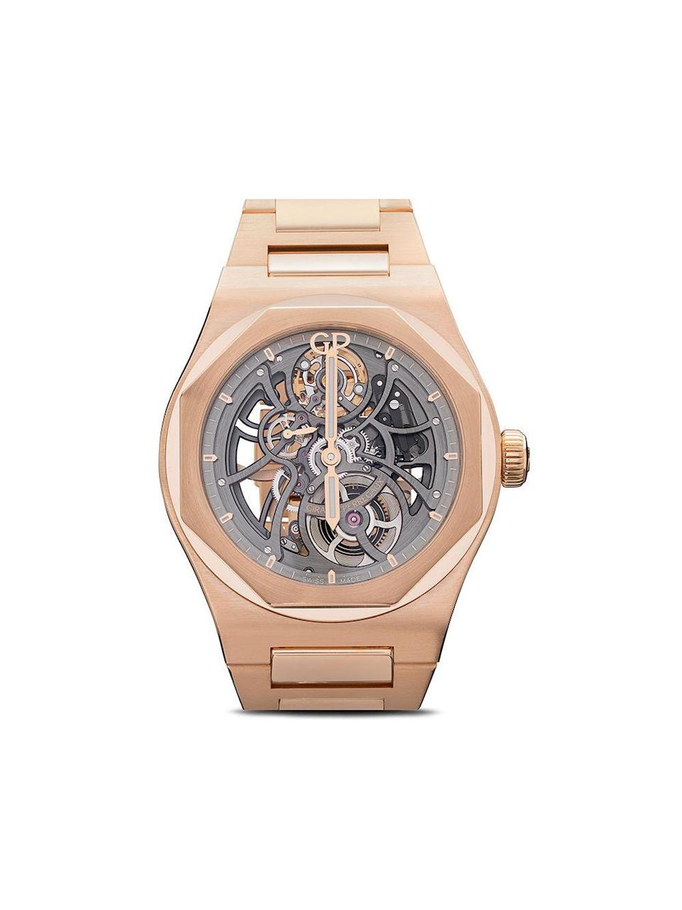 "<p><strong>Girard Perregaux</strong></p><p>farfetch.com</p><p><strong>$63700.00</strong></p><p><a href=""https://go.redirectingat.com?id=74968X1596630&url=https%3A%2F%2Fwww.farfetch.com%2Fshopping%2Fmen%2Fgirard-perregaux-laureato-skeleton-42mm-item-14136448.aspx&sref=https%3A%2F%2Fwww.townandcountrymag.com%2Fstyle%2Fjewelry-and-watches%2Fg32980752%2Fbest-skeleton-watches%2F"" rel=""nofollow noopener"" target=""_blank"" data-ylk=""slk:Shop Now"" class=""link rapid-noclick-resp"">Shop Now</a></p><p>A black dial serves as an ultra-sophisticated focal point for the sculptural gold case and strap of this sport watch.</p>"