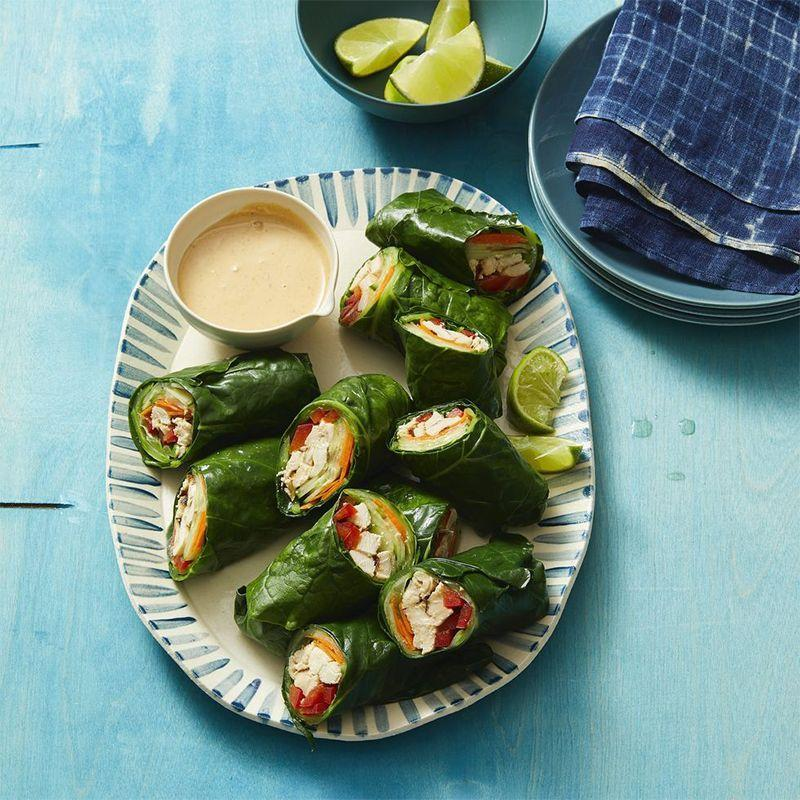 """<p>Skip the wrap and use lettuce to roll up your chicken, veggies and more. These thai-style peanut chicken wraps are full of flavor and leave you feeling full without over doing it. </p><p><em><a href=""""https://www.womansday.com/food-recipes/a32293196/thai-style-peanut-chicken-wraps-recipe/"""" rel=""""nofollow noopener"""" target=""""_blank"""" data-ylk=""""slk:Get the Thai-Style Peanut Chicken Wraps recipe."""" class=""""link rapid-noclick-resp"""">Get the Thai-Style Peanut Chicken Wraps recipe. </a></em></p>"""