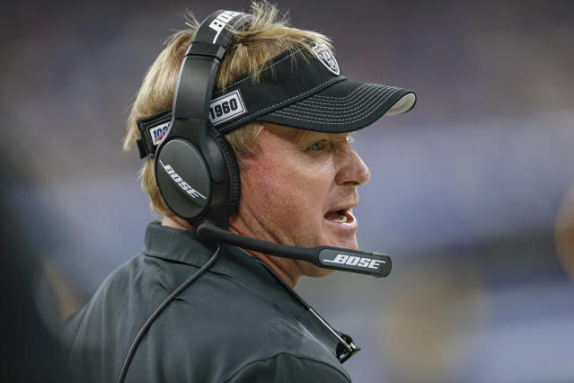 Raiders coach Jon Gruden has his team out to a 3-2 start. (Getty Images)