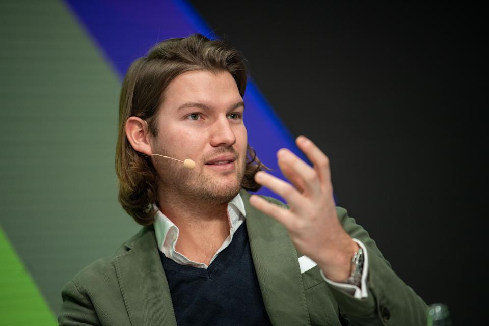20 January 2019, Bavaria, München: Valentin Stalf, founder and managing director of N26, speaks on stage at the Digital Life Design (DLD) innovation conference. Photo: Lino Mirgeler/dpa (Photo by Lino Mirgeler/picture alliance via Getty Images)