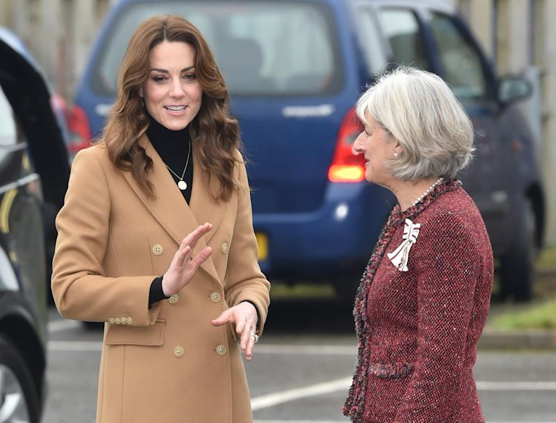 The Duchess of Cambridge arrives for a visit to Ely & Caerau Children's Centre in Cardiff.
