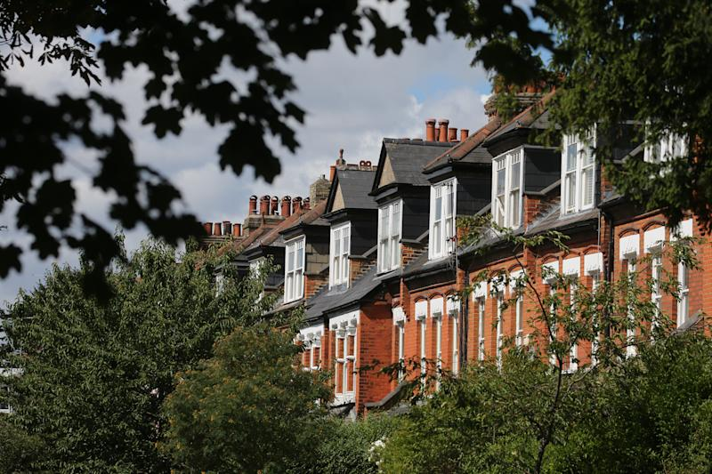 A row of terraced residential houses in north London. Chancellor Rishi Sunak has confirmed temporary plans to abolish stamp duty on properties up to 500,000 GBP in England and Northern Ireland as part of a package to dull the economic impact of the coronavirus. Picture date: Saturday July 11, 2020.