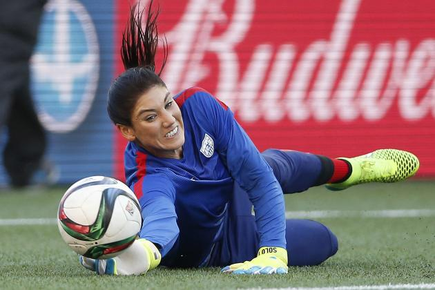 United States goalkeeper Hope Solo warms up prior to a FIFA Women's World Cup soccer match against Sweden in Winnipeg, Manitoba, Canada, Friday, June 12, 2015. (John Woods/The Canadian Press via AP) MANDATORY CREDIT