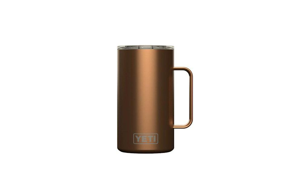 "<p><strong>YETI</strong></p><p>yeti.com</p><p><strong>$26.24</strong></p><p><a href=""https://go.redirectingat.com?id=74968X1596630&url=https%3A%2F%2Fwww.yeti.com%2Fen_US%2Fdrinkware%2Frambler-24-oz-mug%2F21071500290.html&sref=https%3A%2F%2Fwww.delish.com%2Ffood-news%2Fg35269879%2Fyeti-tumbler-cup-sale-january-2021%2F"" rel=""nofollow noopener"" target=""_blank"" data-ylk=""slk:BUY NOW"" class=""link rapid-noclick-resp"">BUY NOW</a></p><p>Yeti made this cup inspired by a classic beer mug but in their signature durable material rather than easy-to-break glass.</p>"