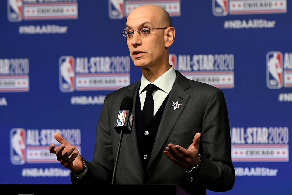 NBA commissioner Adam Silver won't say how the NBA will respond to players protesting during the national anthem. (Photo by Stacy Revere/Getty Images)