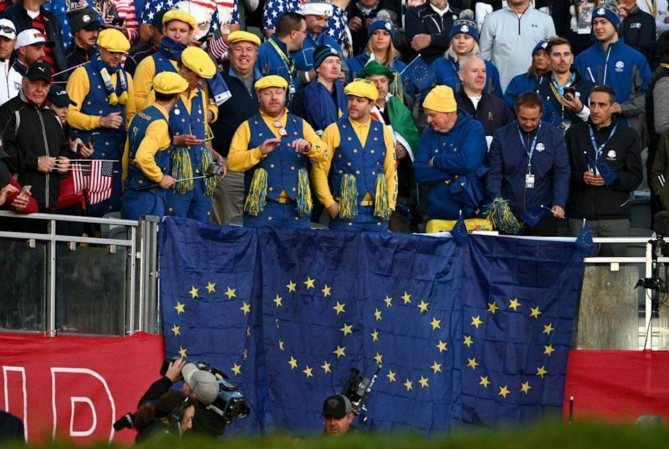 Europe fans show their support in the stands during day one of the 43rd Ryder Cup at Whistling Straits (Anthony Behar/PA) (PA Wire)