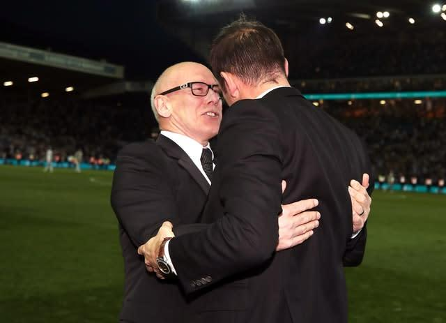 Derby owner Mel Morris, left, gave Frank Lampard his first managerial role (Nick Potts/PA)