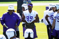 Minnesota Vikings defensive end Danielle Hunter (99) watches during NFL football minicamp practice Tuesday, June 15, 2021, in Eagan, Minn. Hunter just signed a re-worked contract. (AP Photo/Jim Mone)