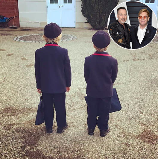 "<p>""And away they go……"" wrote Elton John of his sons with David Furnish. (Photos: <a href=""https://www.instagram.com/p/BYsUtAUH6Ax/?hl=en&taken-by=eltonjohn"" rel=""nofollow noopener"" target=""_blank"" data-ylk=""slk:Elton John via Instagram"" class=""link rapid-noclick-resp"">Elton John via Instagram</a>/Getty Images) </p>"