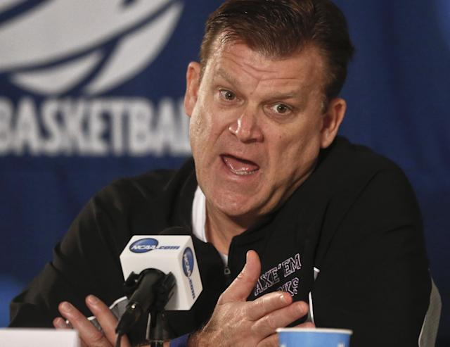 Stephen F. Austin coach Brad Underwood talks about his team's third-round game against UCLA on Sunday in the NCAA college basketball tournament, at a news conference Saturday, March 22, 2014, in San Diego. (AP Photo/Lenny Ignelzi)
