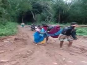Pregnant woman carried for 6 km in cloth cradle in Erode