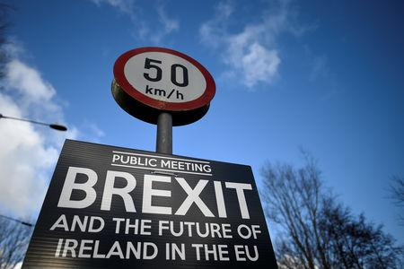 A Brexit sign is seen between Donegal in the Republic of Ireland and Londonderry in Northern Ireland at the border village of Muff