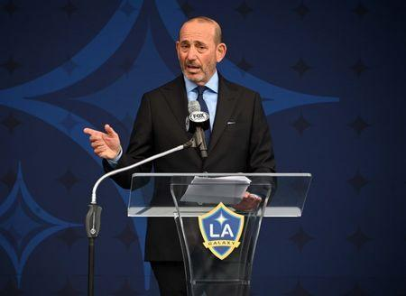 Mar 2, 2019; Los Angeles, CA, USA; MLS commissioner Don Garber speaks during David Beckham statue at Legends Plaza at Dignity Health Sports Park. Mandatory Credit: Kirby Lee-USA TODAY Sports