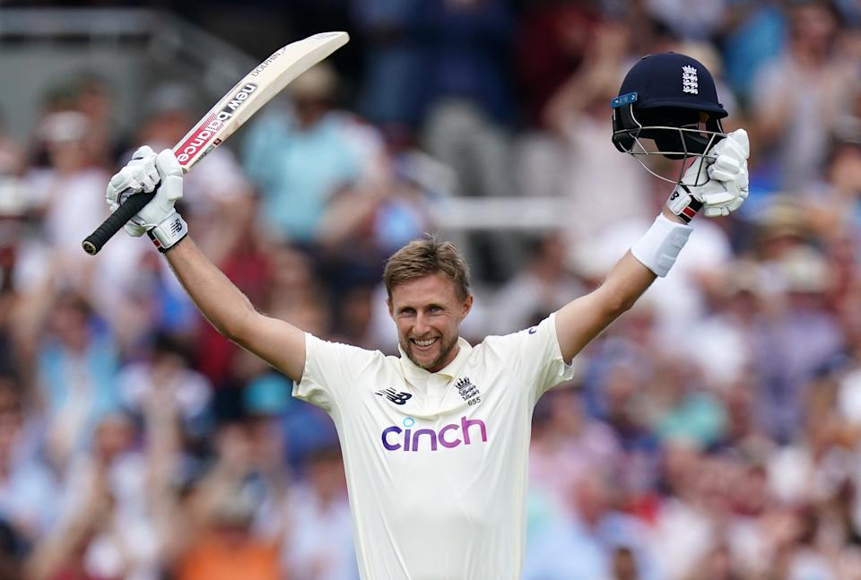 Joe Root (pictured) celebrates after scoring his century during day three of the cinch Second Test match at Lord's, London.